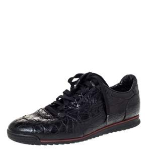 Gucci Black Alligator Leather Low Top Lace Up Sneakers Size 42.5