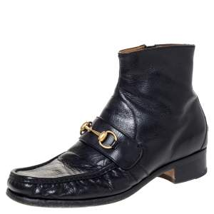Gucci Black Leather Bee Embroidered Horse-bit Vegas Ankle Boots Size 42
