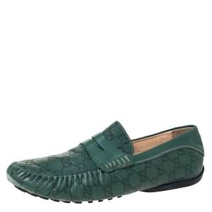 Gucci Green Guccissima Leather Penny Loafers Size 45