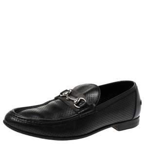 حذاء لوفرز غوتشى سليب أون هورسيبت جلد مثقب أسود مقاس 45