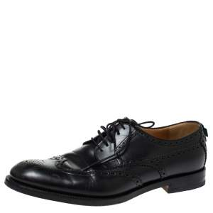 Gucci Black Brogue Leather Lace Up Derby Size 44.5