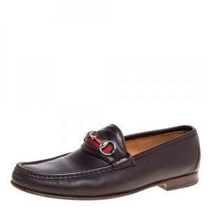 Gucci Dark Brown Leather Web Horsebit Loafers Size 41.5