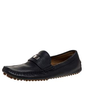حذاء لوفرز غوتشي سليب أون جلد أسود منقوش مقاس 41.5