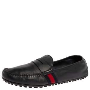 حذاء لوفرز غوتشي بيني ويب جلد أزرق داكن مقاس 43