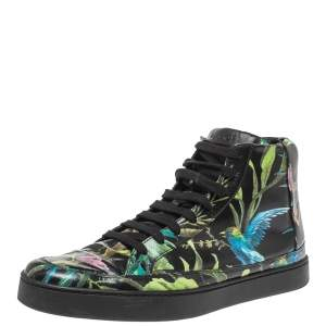 Gucci Multicolor Black Shangai St.Tropical Print Leather Lace Up Sneaker Size 43
