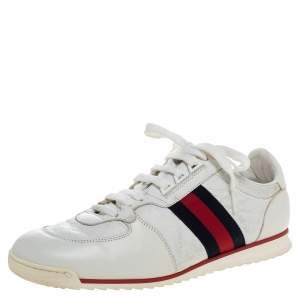 Gucci White Micro Guccissima Leather Web Detail Sneakers Size 42.5