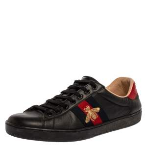 Gucci Black Leather Ace Web Bee Low Top Lace Up Sneakers Size 42.5
