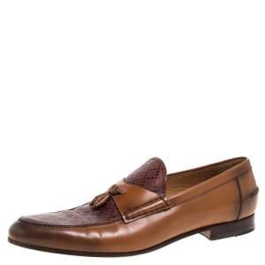 Gucci Brown Glossy Leather Diamante Detail Loafers Size 44.5