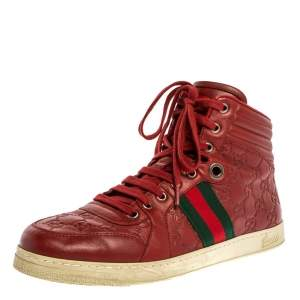 Gucci Red Guccissima Leather Viaggio Web Detail High Top Sneakers Size 42.5