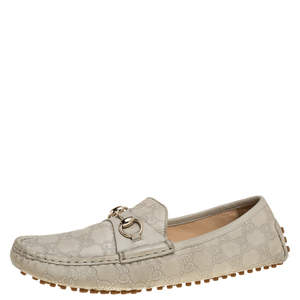 Gucci Cream Guccissima Leather Horsebit Loafers Size 40