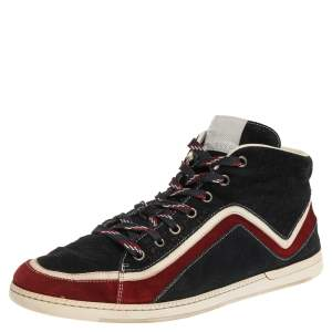 Gucci Tricolor Suede Leather Zig Zag High Top Sneakers Size 44.5
