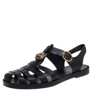 Gucci Black GG Rubber Loin Head Slingback Sandals Size 44