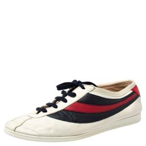 Gucci White Leather Falacer Web Low Top Sneakers Size 43