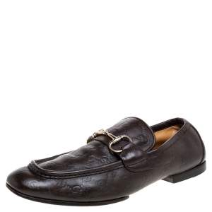 Gucci Brown Guccissima Leather Horsebit Loafers Size 42.5