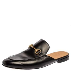 Gucci Black Leather Princetown Horsebit Mules Size 43
