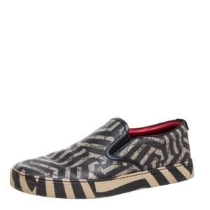 Gucci Beige/Black GG Caleido Canvas Dublin Slip-on Sneakers Size 42