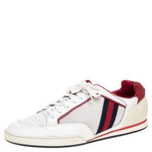 Gucci White Web Leather and Mesh Tennis 83 Lace Up Sneakers Size 45