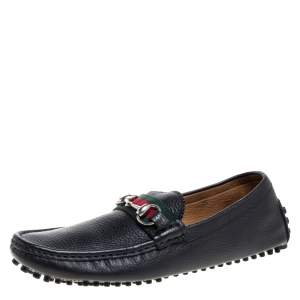 Gucci Black Leather Horsebit Web Detail Driver Loafers Size 41.5