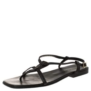 Gucci Black Leather Thong Flat Sandals Size 45E