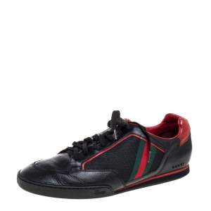 Gucci Black/Red Mesh Fabric and Leather Vintage Tennis Web Low Top Sneakers Size 45
