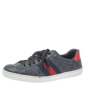 Gucci Grey GG Supreme Canvas Web Ace Low Top Sneakers Size 43
