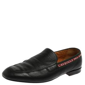 Gucci Black Leather L'Aveugle Par Amour Loafers Size 41