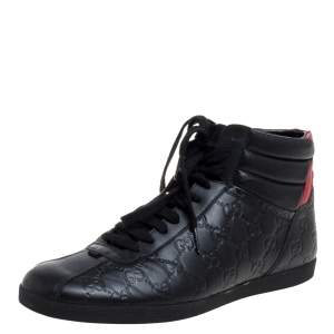 Gucci Black/Red Guccissima Leather High-Top Sneakers Size 41