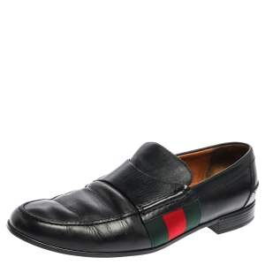 Gucci Black Leather Web Slip On Loafers Size 44.5