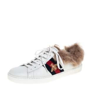 Gucci White Leather and Fur Ace Embroidered Bee Low Top Sneaker Size 44.5
