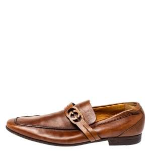 Gucci Brown Leather GG Logo Loafer Size 41.5