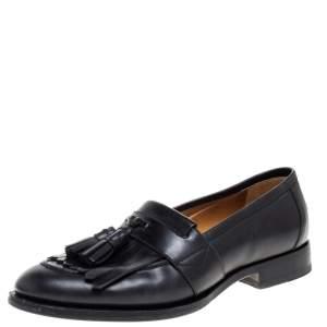 Gucci Black Leather Tassel Slip On Loafers Size 42