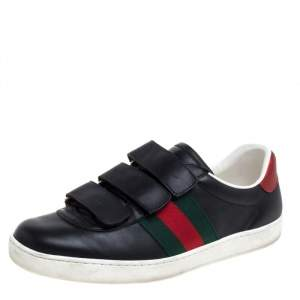 Gucci Black Leather Web Low Top Velcro Sneakers Size 39.5