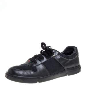 Gucci Black GG Canvas and Leather Low Top Sneakers Size 43.5
