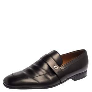 Gucci Black Leather Interlocking G Slip On Loafers Size 44