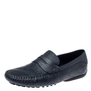 Gucci Navy Blue Guccissima Leather Penny Slip On Loafers Size 40