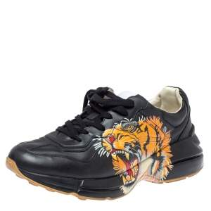 Gucci Black Leather Tiger Rhyton Sneakers Size 44.5