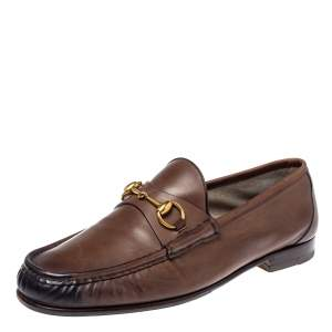 Gucci Brown Leather 1953 Horsebit Loafers Size 44