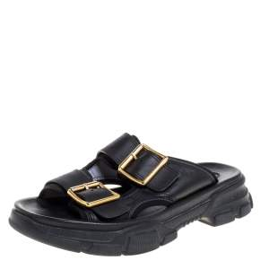 Gucci Black Leather Aguru Buckle Slide Sandals Size 42