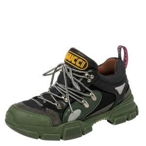 حذاء رياضى غوتشى منخفض من أعلى فلاشتريك شبك وجلد أسود / أخضر مقاس 42.5
