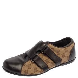 حذاء رياضي غوتشي منخفض من أعلى دراغون جلد وكانفاس جي جي بيج/ بني مقاس 41.5
