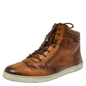 Gucci Brown Leather Coda Brogue Hightop Sneakers Size 44.5