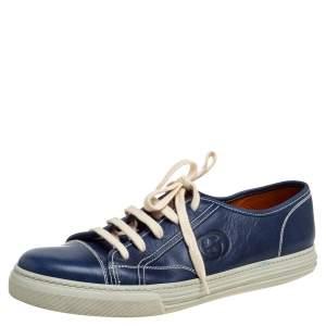 حذاء رياضى غوتشى منخفض من أعلى رباط إضافى جلد كحلى مقاس 43