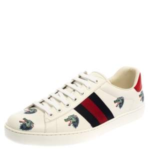 Gucci White Leather Ace Wolf Low Top Sneakers Size 44.5