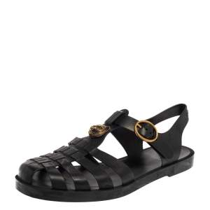 Gucci Black Rubber Marmont And Tiger Embellished Buckle Strap Sandals Size 42
