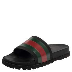 Gucci Black Rubber Web Detail Flat Slides Size 40