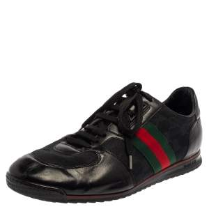 Gucci Black Leather And Canvas Web Detail Lace Up Sneakers Size 43.5