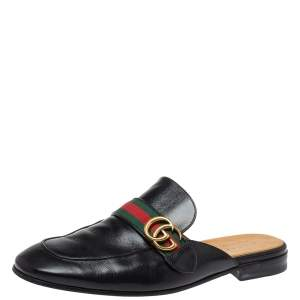 Gucci Black Leather Princetown GG Web Mules Size 45