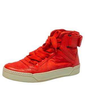 Gucci Red Leather and Nylon Guccissima High Top Sneakers Size 43