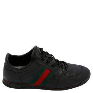 Gucci Black Leather GG Web Sneakers Size UK 7 / EU 40