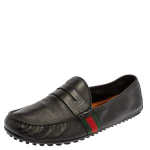 Gucci Black Leather Web Penny Loafers Size 41.5